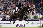 August 09, 2009: Rolf-Goran Bengtsson (SWE) aboard Casall La Silla competing in the Grand Prix event. Longines International Grand Prix. Failte Ireland Horse Show. The RDS, Dublin, Ireland.