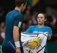 12-02-14, Netherlands,Rotterdam,Ahoy, ABNAMROWTT,Andy Murray(GRB) and Ballgirl<br /> Photo:Tennisimages/Henk Koster