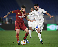 Football Soccer: UEFA Europa League round of 32 first leg AS Roma vs KAA Gent, Olympic stadium, Rome, 20 February, 2020.<br /> Roma's Carles Pérez (l) in action with Gent's Milad Mohammadi (r) during the Europa League football match between Roma and Gent at the Olympic stadium in Rome on 20 February, 2020.<br /> UPDATE IMAGES PRESS/Isabella Bonotto