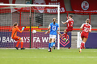 Lotte Wubben-Moy (3) of Arsenal scores goal number 4 for her team and celebrates during Brighton & Hove Albion Women vs Arsenal Women, Barclays FA Women's Super League Football at Broadfield Stadium on 11th October 2020