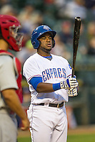 Round Rock Express shortstop Alberto Hanser (3) at bat during Pacific Coast League game against the Memphis Redbirds on April 21, 2015 at the Dell Diamond in Round Rock, Texas. Round Rock defeated Memphis 2-1. (Andrew Woolley/Four Seam Images)
