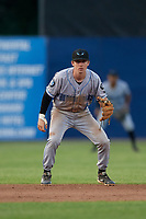 Hudson Valley Renegades shortstop Nick Sogard (7) during a NY-Penn League game against the Mahoning Valley Scrappers on July 15, 2019 at Eastwood Field in Niles, Ohio.  Mahoning Valley defeated Hudson Valley 6-5.  (Mike Janes/Four Seam Images)
