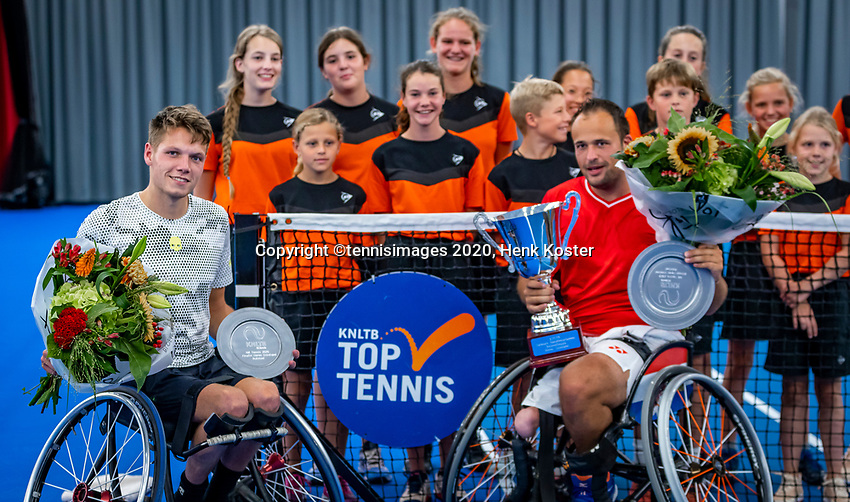 Amstelveen, Netherlands, 22 Augustus, 2020, National Tennis Center, NTC, NKR, National  Wheelchair Tennis Championships, Man's Single final single final,  Winner   Tom Egberink (NED)  (R) and runner up Ruben Spaargaren (NED) with the trophy<br /> Photo: Henk Koster/tennisimages.com