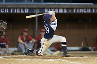 Ryan Parquette (29) (Campbell) of the High Point-Thomasville HiToms follows through on his swing against the Deep River Muddogs at Finch Field on June 27, 2020 in Thomasville, NC.  The HiToms defeated the Muddogs 11-2. (Brian Westerholt/Four Seam Images)