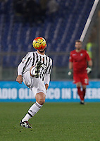 Calcio, Serie A: Lazio vs Juventus. Roma, stadio Olimpico, 4 dicembre 2015.<br /> Juventus' Alvaro Morata has his face hidden by the ball during the Italian Serie A football match between Lazio and Juventus at Rome's Olympic stadium, 4 December 2015.<br /> UPDATE IMAGES PRESS/Isabella Bonotto