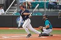 University of Virginia Cavaliers designated hitter Ryan Karstetter (5) at bat during a game against the University of Coastal Carolina Chanticleers at Springs Brooks Stadium on February 21, 2016 in Conway, South Carolina. Coastal Carolina defeated Virginia 5-4. (Robert Gurganus/Four Seam Images)