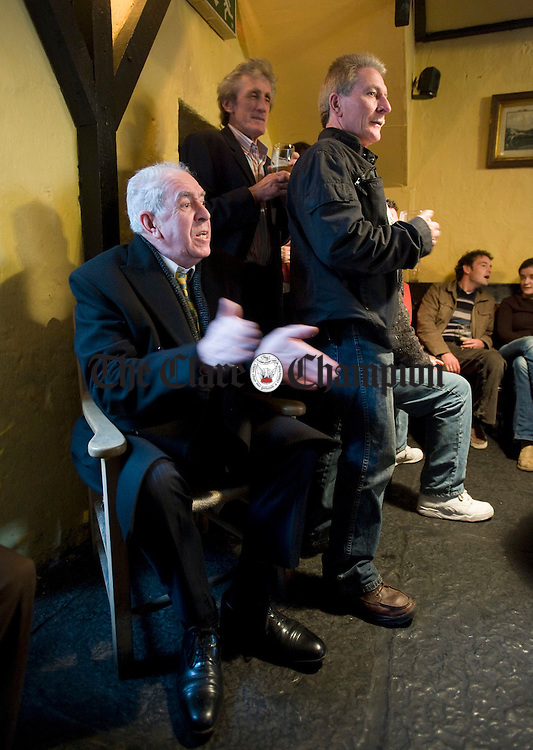 Patrick Kearney, home from East London, enjoying the craic during a pub session at the Corofin Traditional Festival. Photograph by John Kelly.