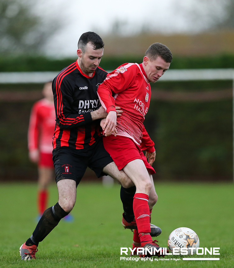 EVENT:<br /> TSDL Premier Division<br /> Two Mile Borris v Peake Villa<br /> Sunday 5th January 2020<br /> Newhill, Littleton, Co Tipperary<br /> <br /> CAPTION:<br /> Darren Ivers of Two Mile Borris in action against Sean Butler of Peake Villa<br /> <br /> Photo By: Michael P Ryan