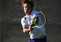 Fayetteville's Spencer Spencer Holloway hits, Monday, October 11, 2021 during the 6A state girls and boys tennis tournament at Memorial Park in Bentonville. Check out nwaonline.com/211012Daily/ for today's photo gallery. <br /> (NWA Democrat-Gazette/Charlie Kaijo)