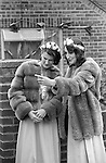 Silver Jubilee Street Party 1977 Barking Silver Jubilee Queens Ladies in Waiting, attendants dressed in 1970s stylish fur jackets.<br />