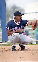 Boston Red Sox catcher Tony Pena during spring training circa 1992 at Chain of Lakes Park in Winter Haven, Florida.  (MJA/Four Seam Images)