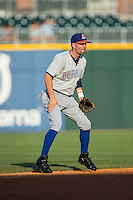 Durham Bulls shortstop Nick Franklin (6) on defense against the Charlotte Knights at BB&T BallPark on July 22, 2015 in Charlotte, North Carolina.  The Knights defeated the Bulls 6-4.  (Brian Westerholt/Four Seam Images)