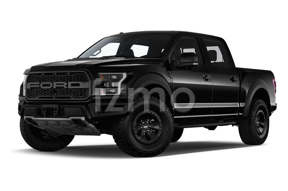 Stock pictures of low aggressive front three quarter view of a 2018 Ford F-150 Raptor 4 Door Pick Up