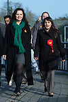 © Joel Goodman - 07973 332324 . 20/11/2014 . Kent , UK . ) . Caroline Flint , Shadow Secretary of State for Energy and Climate Change and Labour candidate Naushabah Khan , out campaigning in Rochester  . The Rochester and Strood by-election campaign following the defection of sitting MP Mark Reckless from Conservative to UKIP . Photo credit : Joel Goodman