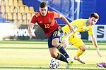 Spain's Oscar Rodriguez (l) and Kazakhstan's Adam Adakhajiev during European Under-21 Championship 2021 qualifying round match. October 13,2020.(ALTERPHOTOS/Acero)