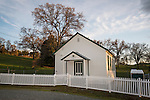 Morgan Chapel church, built 1880, white picket fence, rural Tuolumne Co., Calif.