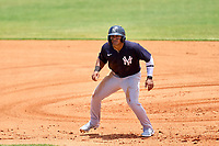 FCL Yankees Jasson Dominguez (25) leads off first base during a game against the FCL Tigers on June 28, 2021 at Tigertown in Lakeland, Florida.  (Mike Janes/Four Seam Images)