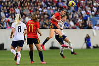 HARRISON, NJ - MARCH 08: Lucia Garcia #17 of Spain goes up for a header with Emily Sonnett #14 of the United States during a game between Spain and USWNT at Red Bull Arena on March 08, 2020 in Harrison, New Jersey.