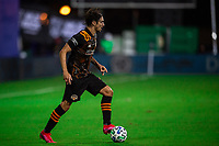 LAKE BUENA VISTA, FL - JULY 23: Zarek Valentin #4 of the Houston Dynamo dribbles the ball during a game between Los Angeles Galaxy and Houston Dynamo at ESPN Wide World of Sports on July 23, 2020 in Lake Buena Vista, Florida.