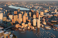harbor Seaport district, aerial, South Boston, MA with Fan Pier and Federal Courthouse lower left