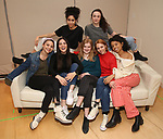 "Lilly Santiago, Isabelle Fuhrman, Sharlene Cruz, Sophia Kelly-Hendrick, AnnaSophia Robb, Ismenia Mendes and Ayana Workman in rehearsal with Red Bull Theater's All-Female ""MACBETH"" at the Vineyard Theatre Rehearsal Studios on April 12, 2019 in New York City."
