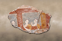 Mycenaean fresco wall painting of three women, Ramp House, Mycenae Acropolis, Greece Cat No 1015. National Archaeological Museum, Athens.<br /> <br /> This 14th Cent BC Mycenaean fresco fragment depicts three women looking out of a window. The scene is festive and the veneration gestures of the women suggest that they are watching a religiuos procession through the window.