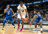 WASHINGTON, DC - FEBRUARY 05: Qudus Wahab #34 of Georgetown takes the ball away from Jared Rhoden #14 of Seton Hall during a game between Seton Hall and Georgetown at Capital One Arena on February 05, 2020 in Washington, DC.