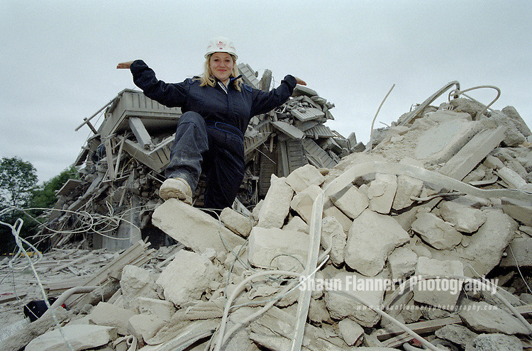 Pix: Shaun Flannery/shaunflanneryphotography.com...COPYRIGHT PICTURE>>SHAUN FLANNERY>01302-570814>>07778315553>>..8th August 1999..3 tower blocks on Sheffield's Norfolk Park estate are 'demolished' by explosives in a controlled demolition..Holly Bennett of Controlled Demolition Group Ltd.
