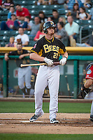 Brandon Bayardi (27) of the Salt Lake Bees at bat against the Tacoma Rainiers in Pacific Coast League action at Smith's Ballpark on September 2, 2015 in Salt Lake City, Utah. Tacoma defeated Salt Lake 13-6.  (Stephen Smith/Four Seam Images)