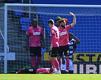 5th April 2021; Madejski Stadium, Reading, Berkshire, England; English Football League Championship Football, Reading versus Derby County;  GraemeShinnie calls for medics as Nathan Byrne of Derby County lies injured in the area