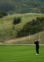15.10.2014. The London Golf Club, Ash, England. The Volvo World Match Play Golf Championship.  Day 1 group stage matches.  Paul Casey [ENG] second shot on the seventeenth.