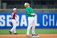 Ryan Lidge (36) of the Notre Dame Fighting Irish reacts after his double tied the score at 3-3 in the top of the eighth inning against the Florida State Seminoles during Game Four of the 2017 ACC Baseball Championship at Louisville Slugger Field on May 24, 2017 in Louisville, Kentucky.  The Seminoles walked-off the Fighting Irish 5-3 in 12 innings. (Brian Westerholt/Four Seam Images)