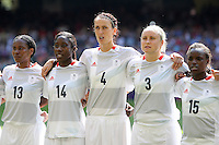 Team GB line up for the national anthem - Great Britain Women vs New Zealand Women - Womens Olympic Football Tournament London 2012 Group E at the Millenium Stadium, Cardiff, Wales - 25/07/12 - MANDATORY CREDIT: Gavin Ellis/SHEKICKS/TGSPHOTO - Self billing applies where appropriate - 0845 094 6026 - contact@tgsphoto.co.uk - NO UNPAID USE.