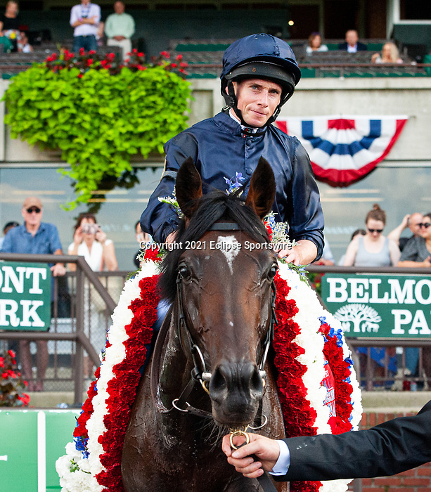 July 10, 2021: Bolshoi Ballet (IRE), ridden by Ryan Moore, wins the 2021 running of the G1 Belmont Derby at Belmont Park in Elmont, NY. Sophie Shore/ESW/CSM