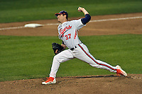 Pitcher Alex Bostic (37) of the Clemson University Tigers delivers a pitch in a game against the Wofford College Terriers on Tuesday, March 1, 2016, at Doug Kingsmore Stadium in Clemson, South Carolina. Clemson won, 7-0. (Tom Priddy/Four Seam Images)