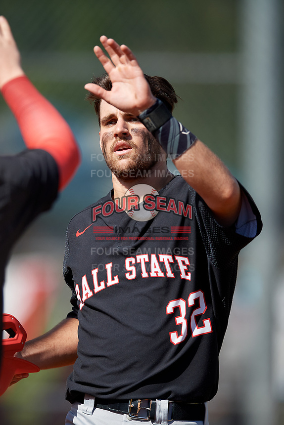 Ball State Cardinals third baseman William Baker (32) during a game against the Saint Joseph's Hawks on March 9, 2019 at North Charlotte Regional Park in Port Charlotte, Florida.  Ball State defeated Saint Joseph's 7-5.  (Mike Janes/Four Seam Images)