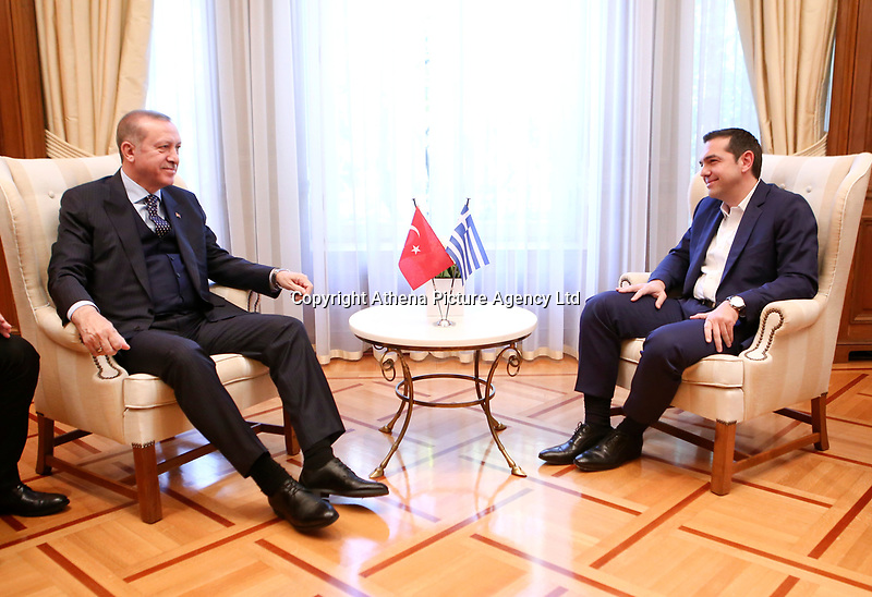 Pictured: Turkey president Recep Tayyip Erdogan meets with Prime Minister Alexis Tsipras at the Maximos Mansion<br /> Re: Turkey's president Recep Tayyip Erdogan has begun a landmark visit to Greece. Thursday 07 December 2017