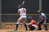 GCL Braves third baseman Austin Riley (32) at bat in front of catcher Jake Bowey and umpire Michael Boulianne during a game against the GCL Astros on July 23, 2015 at the Osceola County Stadium Complex in Kissimmee, Florida.  GCL Braves defeated GCL Astros 4-2.  (Mike Janes/Four Seam Images)