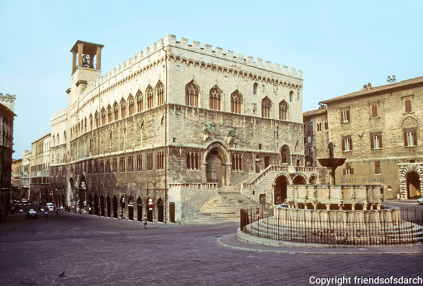 Italy: Perugia--The Palazzo Dei Priori from the Duomo steps. Fontane Maggiore in foreground. The Palazzo began in 13th C., enlarged in 14th & 15th C. Facade facing square is oldest. Photo '83.