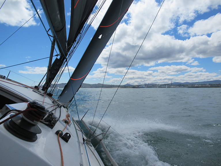 Farr 42 with her Uni Titanium main and headsail working perfectly together. Generating loads of power and pointing