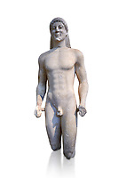 Marble Anxcient Greek Archaic meble statue of a kouros, circa 500 BC, Athens National Archaeological Museum.  Against white.