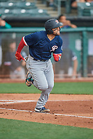 José Godoy (27) of the Tacoma Rainiers runs to first base against the Salt Lake Bees at Smith's Ballpark on May 16, 2021 in Salt Lake City, Utah. The Bees defeated the Rainiers 8-7. (Stephen Smith/Four Seam Images)
