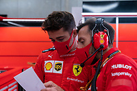 29th August 2020, Spa Francorhamps, Belgium, F1 Grand Prix of Belgium , qualification;   16 Charles Leclerc MCO, Scuderia Ferrari Mission Winnow discusses technical dta on a bad day at the office