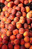 Fresh peaches outside a fruit shop, Corfu, Greek Ionian Islands