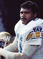 Bobby Thompson Winnipeg Blue Bombers lineman 1983. Copyright photograph Scott Grant/