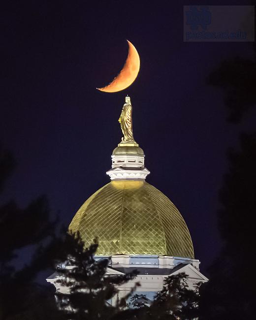 September 21, 2020; Moonset over the Dome (Photo by Matt Cashore/University of Notre Dame)