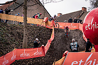 Annemarie Worst (NED/777) is the first at 'the drop'<br /> <br /> Jaarmarktcross Niel (BEL) 2020<br /> Womens Race<br /> <br /> ©kramon