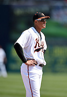 Baltimore Orioles third baseman Manny Machado (31) in the field during a rehab assignment with the Frederick Keys during a game against the Carolina Mudcats on April 26, 2014 at Harry Grove Stadium in Frederick, Maryland.  Carolina defeated Frederick 4-2.  (Mike Janes/Four Seam Images)