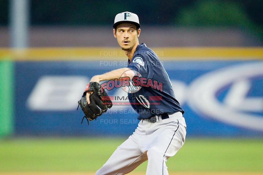 Pulaski Mariners relief pitcher Dylan De Meyer (10) in action against the Burlington Royals at Burlington Athletic Park on July 20, 2013 in Burlington, North Carolina.  The Royals defeated the Mariners 6-5.  (Brian Westerholt/Four Seam Images)