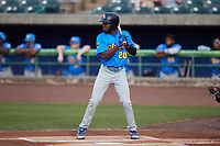 Edmond Americaan (20) of the Myrtle Beach Pelicans at bat against the Lynchburg Hillcats at Bank of the James Stadium on May 22, 2021 in Lynchburg, Virginia. (Brian Westerholt/Four Seam Images)